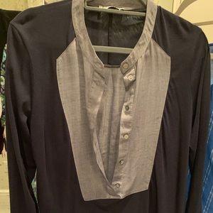 Jersey Linen Color Block Blouse